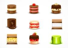 Set of cakes. Set of nine different cakes on white background Stock Illustration