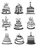 Set of cakes. Set of nine monochrome cakes stock illustration