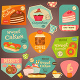 Set of Cakes Stickers. Set of Sweet Cakes and Cupcakes Stickers. Vector Illustration royalty free illustration