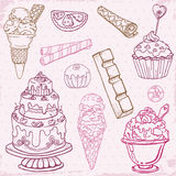 Set of Cakes, Sweets and Desserts Stock Image