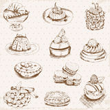 Set of Cakes, Sweets and Desserts Royalty Free Stock Image