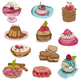 Set of Cakes, Sweets and Desserts Royalty Free Stock Photography