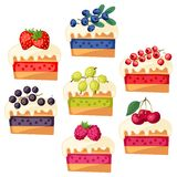 Set of cakes with various filling. Stock Image