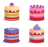 Set of cakes - vector. Set of colorful yummy cakes - vector Royalty Free Stock Photo
