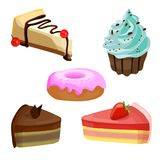 Set of cakes. VECTOR illustrations. Blue cream muffin. Stock Photo