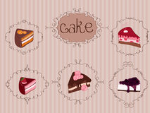 Set of Cakes on Vintage Background Royalty Free Stock Image