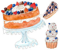 Set of cakes - watercolor painting on white. Hand drawn bakery set: cakes and pie royalty free illustration