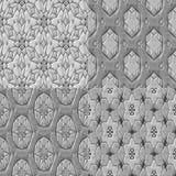 Set of 4 caleidoscopic mosaic ornamental seamless pattern Stock Images