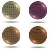 Set of 2017 calendar colored balls first four months Stock Photo