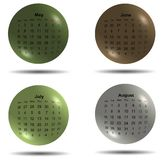 Set of 2017 calendar colored balls second four months Stock Photography