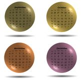 Set of 2017 calendar colored balls third four months Royalty Free Stock Image