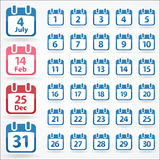 Set of calendar icons Royalty Free Stock Images