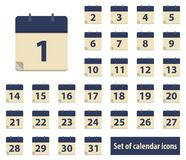 Set of calendar icons with dates from 1 to 31 royalty free stock image