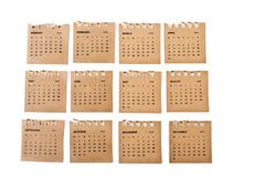 Set of calendar sheets. royalty free stock photo