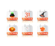 Set of Calendar Shiny Halloween Icon. Cauldron, hat, pumpkin,ghost Royalty Free Stock Images