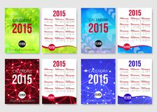 Set of 2015 calendar template brochure design. Modern back and front flyer backgrounds. Vector illustration Stock Photos
