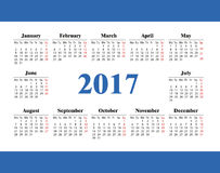 Set calendar on 2017 year. Horizontal pocket calendar on 2017 year. Vector template calendar isolated for business on white background Stock Images