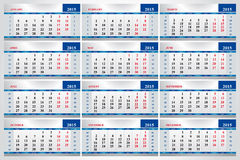 Set of calendars for each month in 2015. Vector set of calendars for each month in 2015 Stock Photography