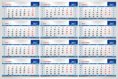 Set of calendars for every month 2017 Stock Images