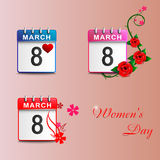 Set calendars 8 March pink Royalty Free Stock Photos