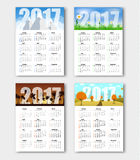Set calendars for seasons of the year 2017. Design Calendar for 2017. Templates with winter, spring, summer and autumn landscape. Vector illustration. Set. New Stock Photography
