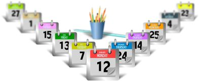 Set of calender pages on the desk with pot of pencils. Set of calender pages on the desk with blue pot of pencils Stock Photography