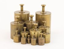 Set of calibration weights. Close up of set of calibration weights Royalty Free Stock Image