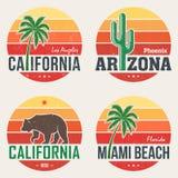 Set of California, Arizona, Miami t-shirt prints. Set of California, Arizona, Miami t-shirt tee prints royalty free illustration