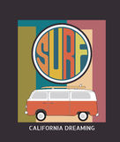 Set of California surf typography, t-shirt graphics , vector for Stock Images
