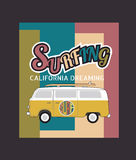 Set of California surf typography, t-shirt graphics , vector for Royalty Free Stock Photography