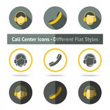 Set of call center icons in different flat styles Royalty Free Stock Photo
