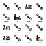 Set of call center, Manager, Gardener, Teacher, Chef, Concierge, Lumberjack, Doctor, Farmer icons. Set Of 16 simple  icons such as call center, Manager, Priest Royalty Free Stock Photos