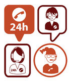 Set of call center operator icons. vector Royalty Free Stock Images