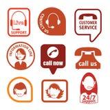 Set of call center operator icons. vector Stock Photos
