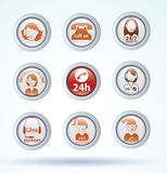 Set of call center operator icons. vector. Stock Image