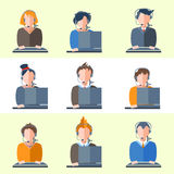 Set call center operators headphones, computers. Color flat icons of men and women business topics. Illustration of people center operators for web, social Royalty Free Stock Photos