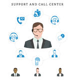 Set of call center service and support icons: hotline, contact c Stock Photos