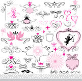Set of calligraphic design elements and page decor. Ation with heart, crown, flower, angel, dove. Abstract decorative hand drawn illustration for original Royalty Free Stock Image