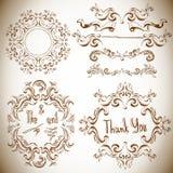 Set of calligraphic design elements Royalty Free Stock Photos