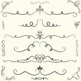 Set of calligraphic design elements and page decoration Royalty Free Stock Photo
