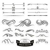 Set of calligraphic design elements and page decoration. Vector illustration Royalty Free Stock Photo