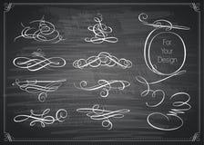 Set of calligraphic design elements. Royalty Free Stock Image