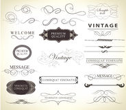 Set of calligraphic elements for design. Can be used for invitation, congratulation Royalty Free Stock Photos