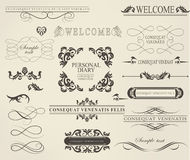 Set of calligraphic elements for design. Can be used for invitation, congratulation Royalty Free Stock Image
