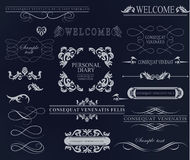 Set of calligraphic elements for design. Can be used for invitation, congratulation Royalty Free Stock Photography