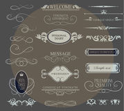 Set of calligraphic elements for design. Can be used for invitation, congratulation Royalty Free Stock Images