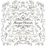Set of calligraphic floral design elements and Royalty Free Stock Image