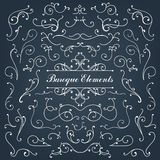 Set of calligraphic floral design elements and Stock Photos