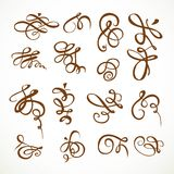 Set of calligraphic flourishes asymmetrical 2 Stock Photo