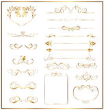 Set calligraphic gold Stock Images